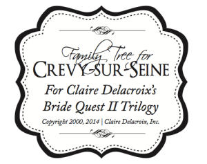 Crevy-sur-Seine Family Tree Logo for the Bride Quest series of medieval Scottish romances by Claire Delacroix