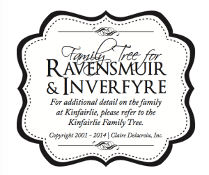 Logo for Ravensmuir and Kinfairlie family tree, featured in the medieval romances by Claire Delacroix