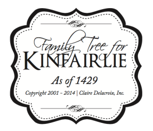 Logo for family tree for Kinfairlie, featuring the families in the medieval romances by Claire Delacroix