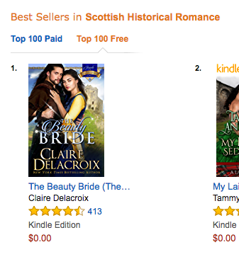 The Beauty Bride by Claire Delacroix at #1 in Medieval Romance, #1 in Scottish Romance and #12 Free overall  at Amazon on May 15