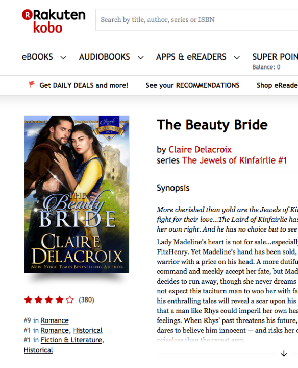 The Beauty Bride by Claire Delacroix at #9 in Romance, #1 in Historical Romance at Kobo on May 15, 2018