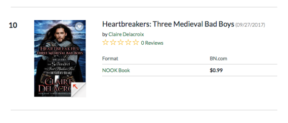 Heartbreakers by Claire Delacroix at #10 overall in the Nook store on July 27, 2018