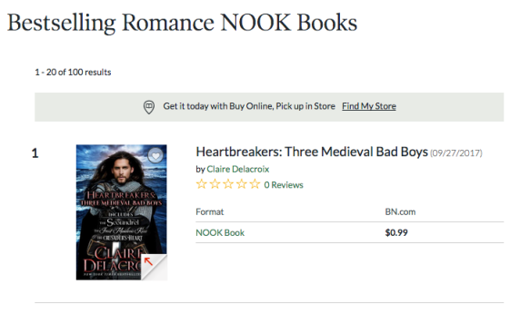 Heartbreakers by Claire Delacroix at #1 in Romance at Nook on July 27, 208
