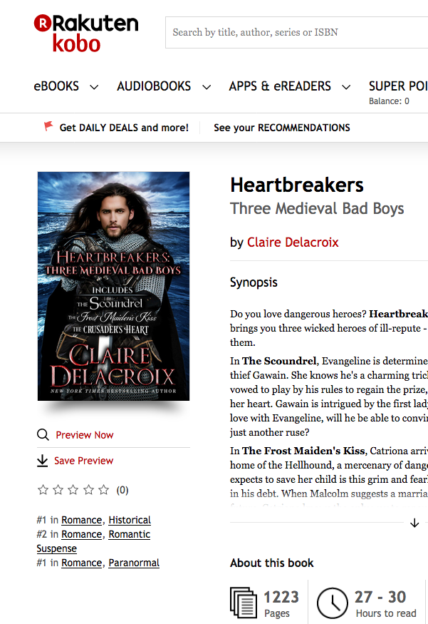 Heartbreakers by Claire Delacroix at #1 in Historical romance and #1 in romantic suspense at Kobo on July 27, 2018