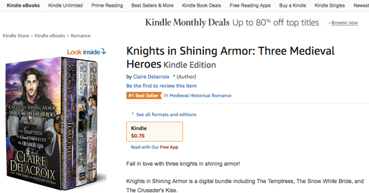 Knights in Shining Armor, a digital boxed set of medieval romances by Claire Delacroix, and its #1 bestseller ribbon in medieval romance in the Kindle store on August 29, 2019