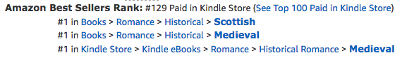 Knights in Shining Armor, a digital boxed set of medieval romances by Claire Delacroix, at #1 in Medieval Romance, #1 in Scottish Romance and #129 overall paid in the Kindle store on August 29, 2018