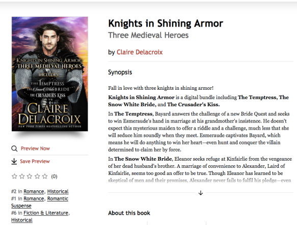 Knights in Shining Armor, a digital boxed set of medieval romances by Claire Delacroix, #2 in Historical Romance, #1 in Romantic Suspense and #6 in Historical Fiction in the Kobo store on August 29, 2019