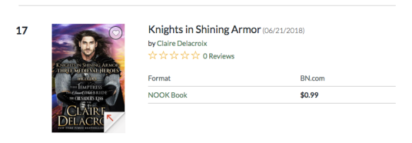 Knights in Shining Armor, a digital boxed set of medieval romances by Claire Delacroix, #17 overall paid in the Nook store on August 29, 2019