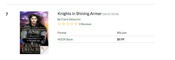 Knights in Shining Armor, a digital boxed set of medieval romances by Claire Delacroix, #7 on the romance bestseller list in the Nook store on August 29, 2019