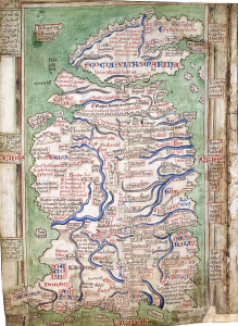 Matthew of Paris' map of Britain ca 1260 in the British Library