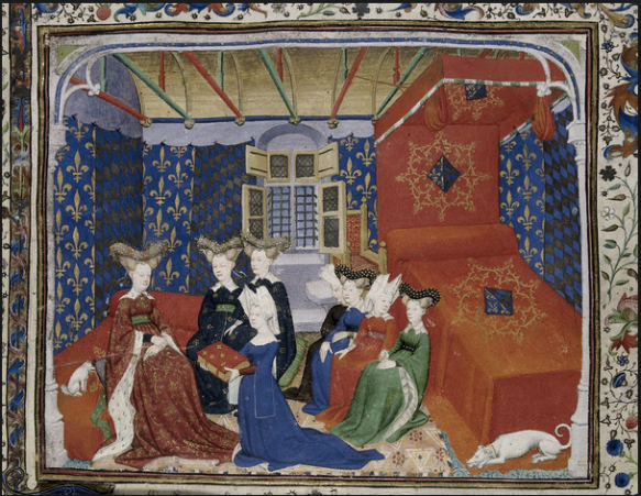 Christine de Pisan's work depicting herself presenting her work to Queen Isabeau
