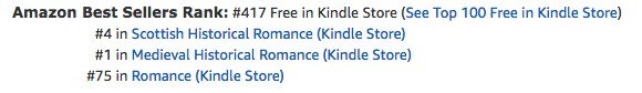 The Renegade's Heart, a medieval Scottish romance by Claire Delacroix, at #75 in romance free in the Kindle store on October 23, 2019
