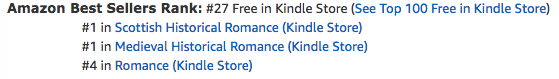The Renegade's Heart, a medieval Scottish romance by Claire Delacroix, at #27 in free in the Kindle store on October 23, 2019
