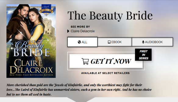 Detail page on Books2Read for The Beauty Bride, book one of the Jewels of Kinfairlie series of medieval Scottish romances by Claire Delacroix