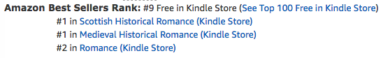The Renegade's Heart, a medieval Scottish romance by Claire Delacroix, at #9 free in the Kindle store on October 24, 2019