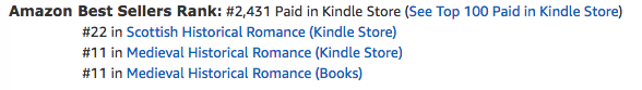 The Highlander's Curse, a medieval Scottish romance by Claire Delacroix, at #11 in medieval romance and #22 in Scottish romance in the Kindle store on October 24, 2019