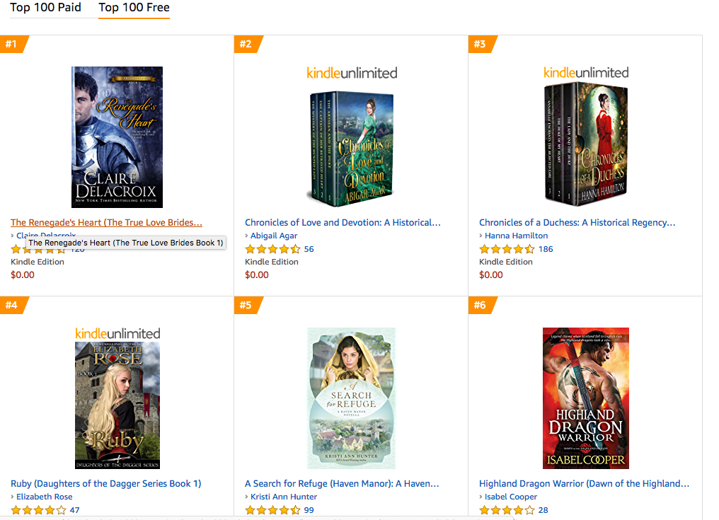 The Renegade's Heart, a medieval Scottish romance by Claire Delacroix, at #1 in Scottish romance free in the Kindle store on October 24, 2019