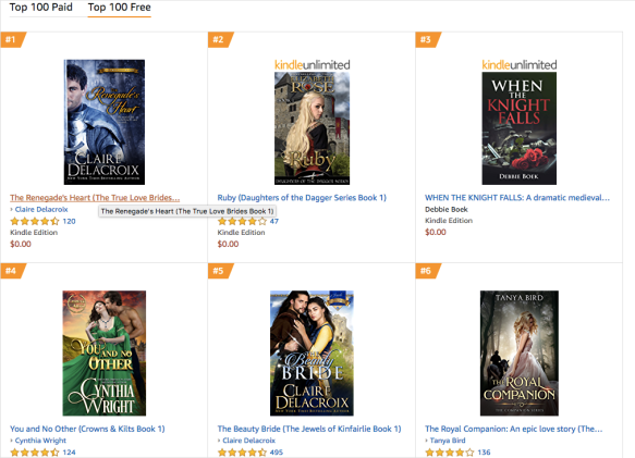 The Renegade's Heart, a medieval Scottish romance by Claire Delacroix, at #1 free Medieval Romance in the Kindle store on October 24, 2019