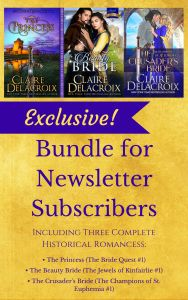 Exclusive three book bonus for subscribers to Claire Delacroix's Knights & Rogues medieval romance newsletter