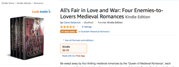 All's Fair in Love and War boxed set by Claire Delacroix with a #1 bestseller ribborn at Amazon.com on April 22, 2020