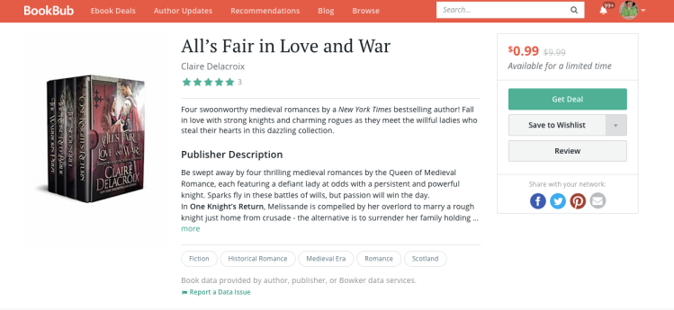 BookBub Featured Deal for All's Fair in Love and War by Claire Delacroix April 22, 2020