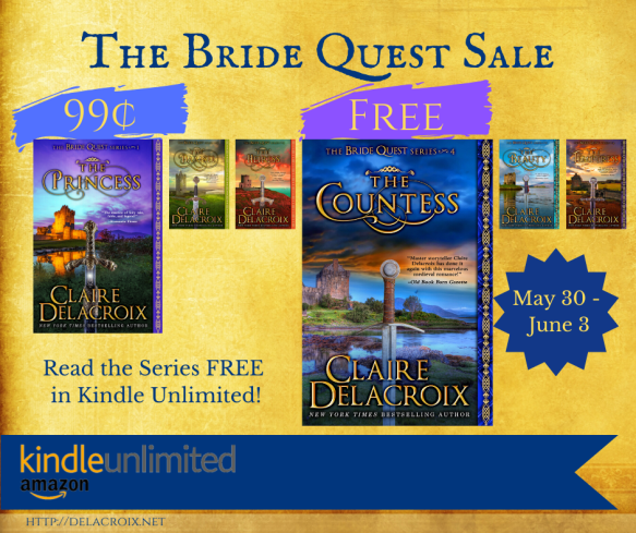 The Bride Quest series of medieval romances by Claire Delacroix on sale May 30 2020