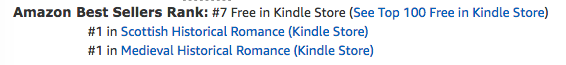 The Frost Maiden's Kiss at #1 in medieval romance, #1 in Scottish romance and #7 overall free in the Kindle store on June 10 2020