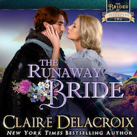 The Runaway Bride, book two of the Brides of Inverfyre series of medieval Scottish romances by Claire Delacroix, in audio