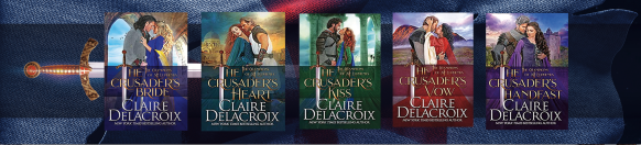 bookmark design for the Champions of St. Euphemia series of medieval romances by Claire Delacroix
