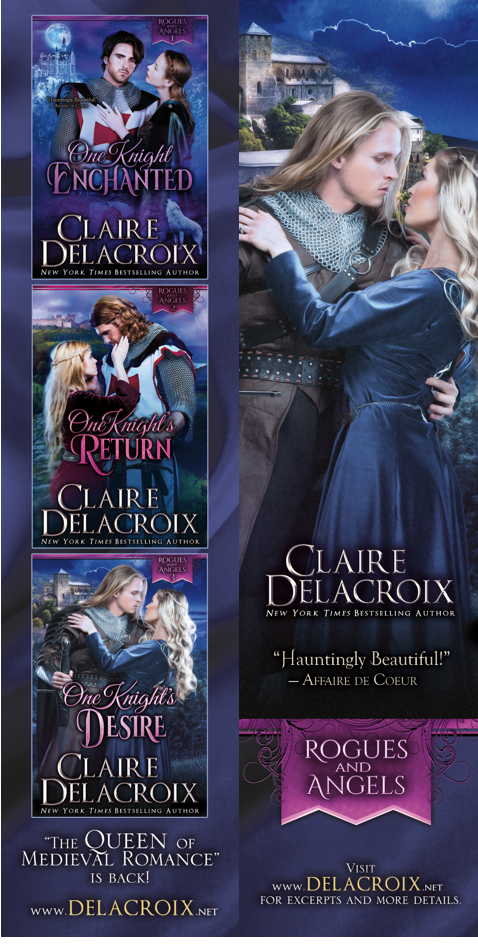 bookmark design for the Rogues & Angels series of medieval romances by Claire Delacroix