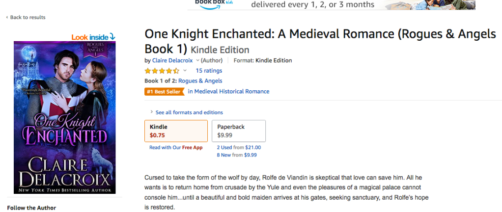 One Knight Enchanted is a #1 bestseller in medieval romance at Amazon.com on September 19, 2020