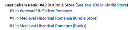 One Knight Enchanted at $49 in the Kindle store at Amazon.com, #1 in medieval romance and #1 in shifter romance on September 20, 2020