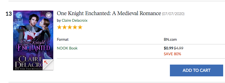 One Knight Enchanted at #13 overall in the Nook store on September 13, 2020