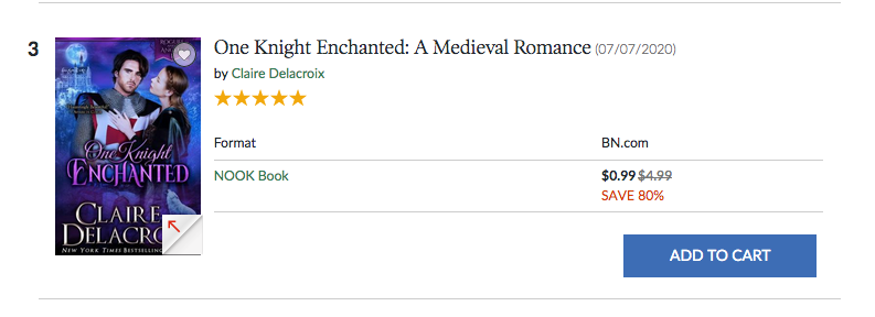 One Knight Enchanted at #3 in romance in the Nook store on September 13, 2020