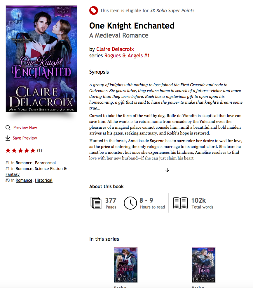 One Knight's Desire and the Rogues & Angels series by Claire Delacroix at Kobo
