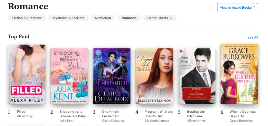 One Knight Enchanted at #3 in Romance in the Apple store on September 13, 2020