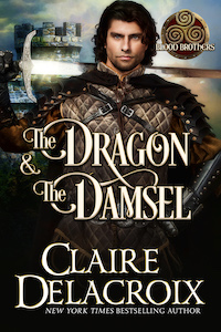 The Dragon and the Damsel, book three of the Blood Brothers trilogy of medieval Scottish romances by Claire Delacroix