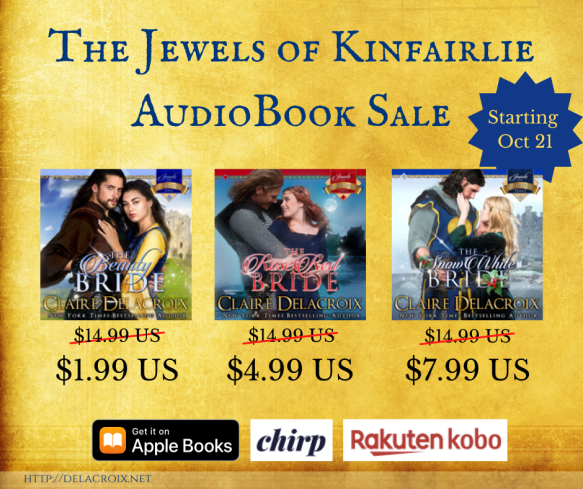 The Jewels of Kinfairlie series of medieval romances by Claire Delacroix, on sale in audiobook starting October 21, 2020