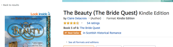 The Beauty, book five of the Bride Quest series of medieval romances by Claire Delacroix, earns its #1 bestseller in Scottish Historical Romance ribbon at Amazon.com on September 20, 2020