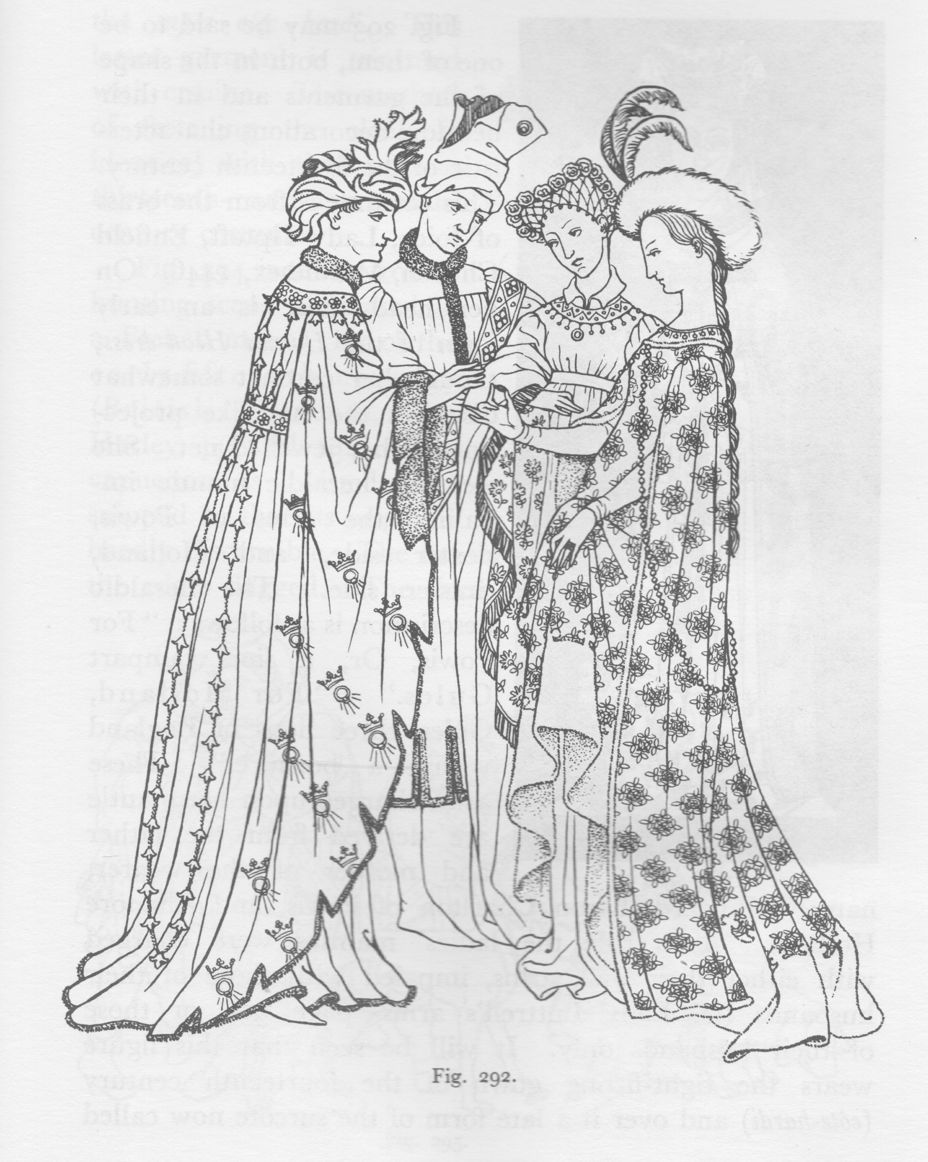 Illustration from Medieval Costume in England and France by Mary G. Houston