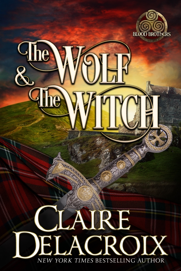 The Wolf & the Witch, book one of the Blood Brothers series of medieval romances by Claire Delacroix, hardcover large print edition