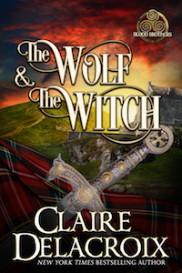 The Wolf and the Witch, book one of the Blood Brothers series of medieval romances by Claire Delacroix, hardcover large print edition