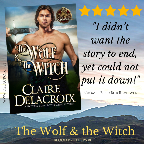 Five star review for The Wolf & the Witch, book one of the Blood Brothers series of medieval Scottish romances by Claire Delacroix